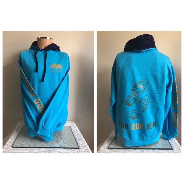 Footprints Hoody - TURQUOISE with NAVY hood
